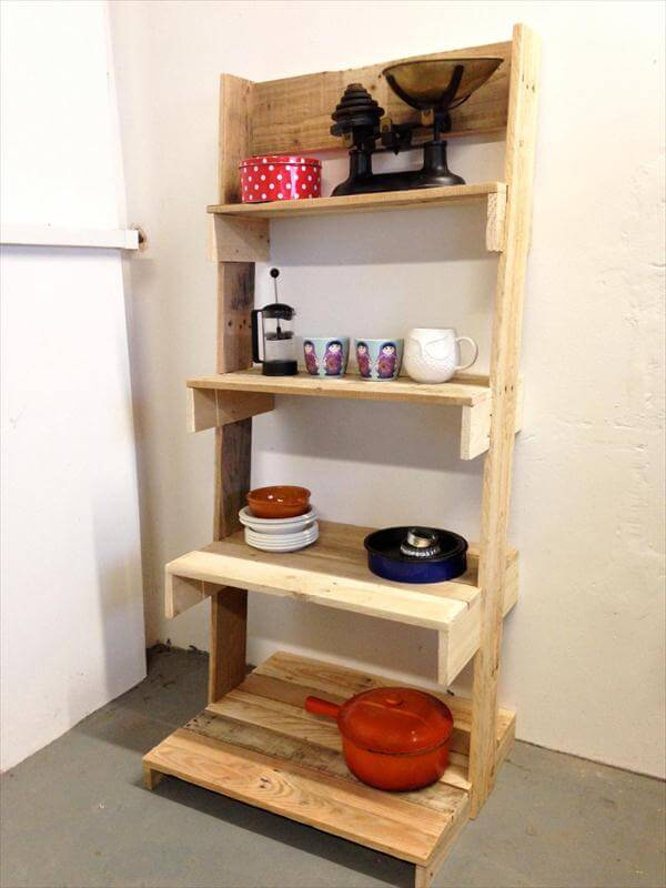 DIY Pallet Ladder Shelves Unit 101 Pallets