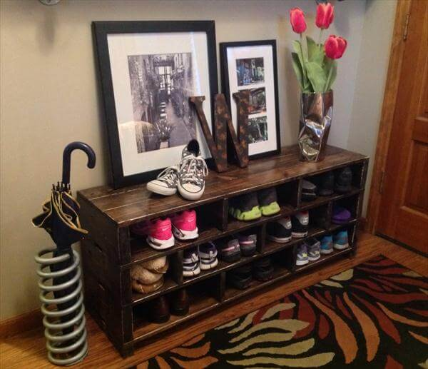 DIY Pallet Shoe Rack Shoe Storage 101 Pallets