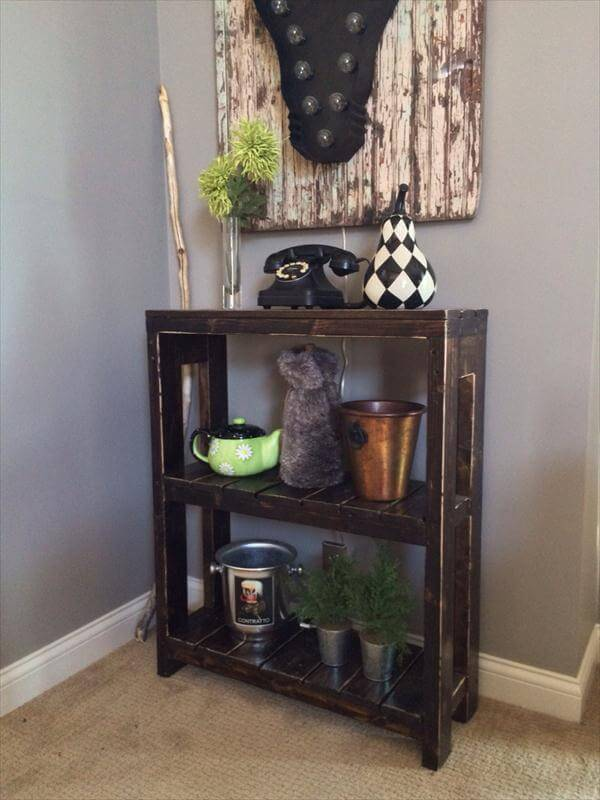 rustic black stained pallet coffee table