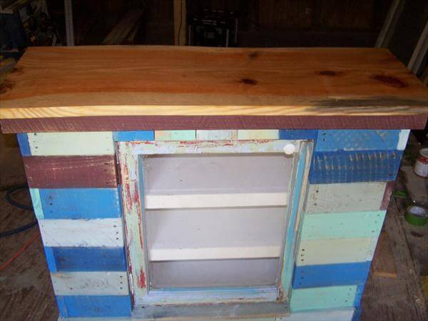 reclaimed pallet wood distressed cabinet