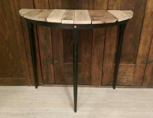 Reclaimed Half Circle Pallet Entryway Table And Side Table