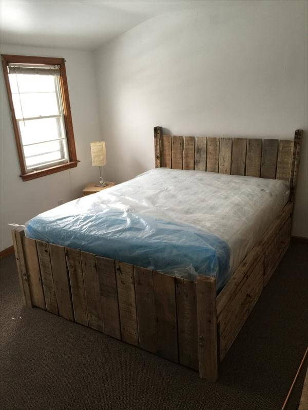 ... diy bed diy platform pallet bed plan with storage diy pallet bed with