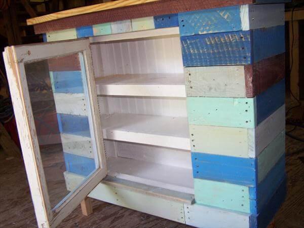 rustic yet modern pallet cabinet
