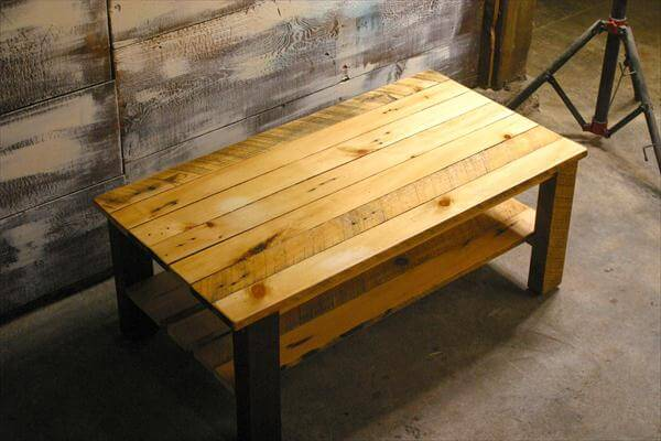 Coffee table out of pallets with lower shelf 101 pallets for How to build a coffee table out of pallets
