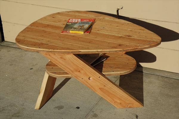 handmade unique oval pallet coffee table
