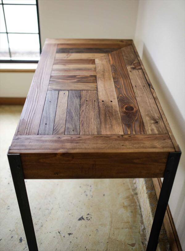 DIY Pallet Desk With 2 Drawers Study 101 Pallets