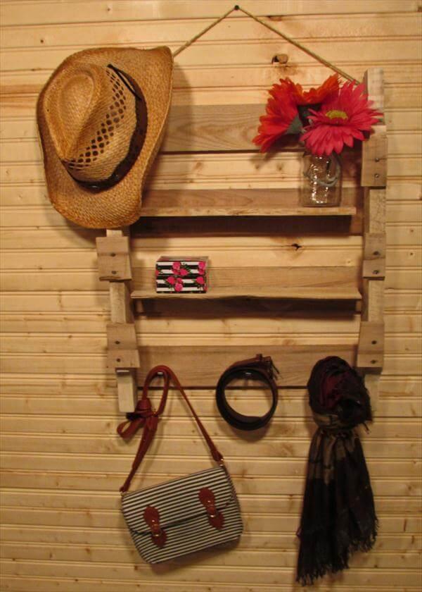 diy reused pallet hanging shelf and coat rack