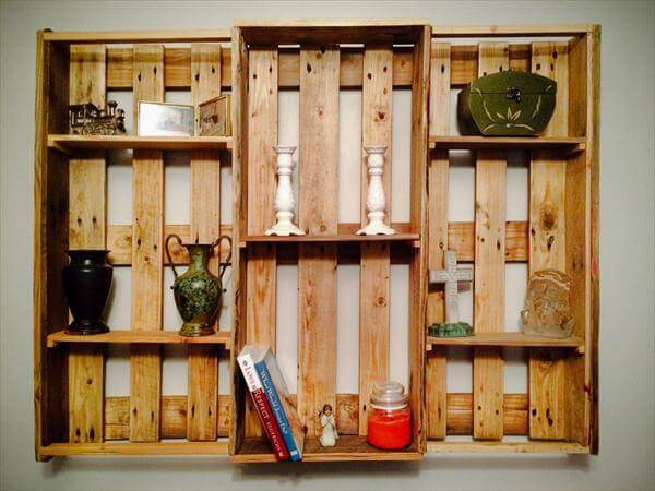 handcrafted pallet art style shelving - DIY Pallet Wall Hanging Shelf €� Decorative Shelving Unit 101 Pallets
