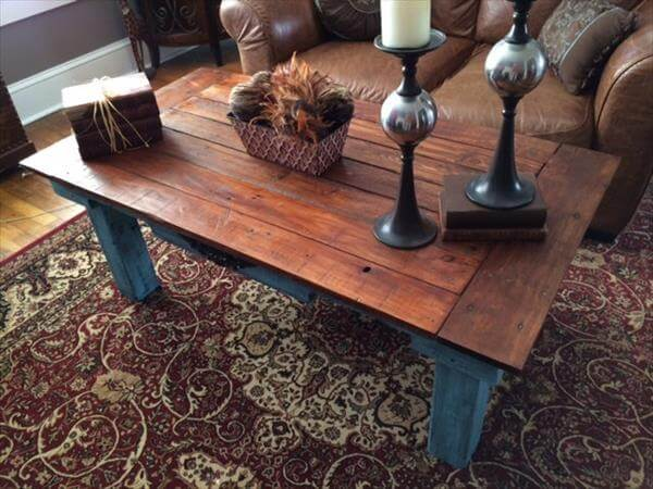 diy pallet teal blue distressed coffee table | 101 pallets