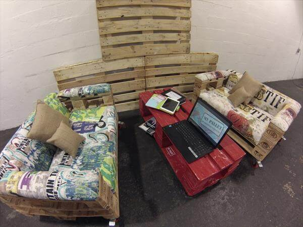 reclaimed pallet rolling sofa with cushion