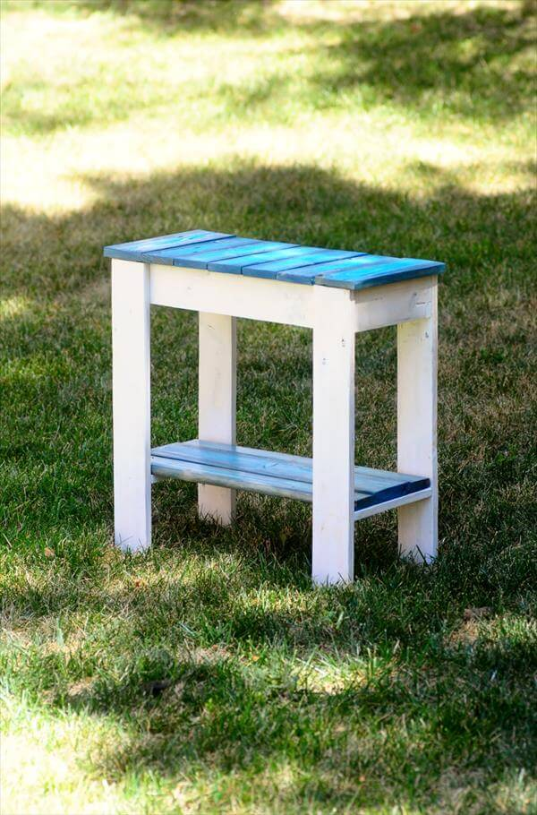 recycled pallet blue and white side table