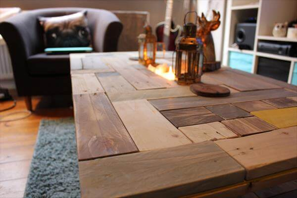 repurposed pallet vintage inspired coffee table