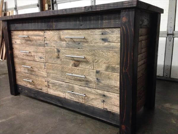 Recycled Pallet Furniture Chest Of Drawers 101 Pallets