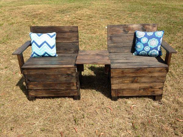 repurposed pallet double chair bench