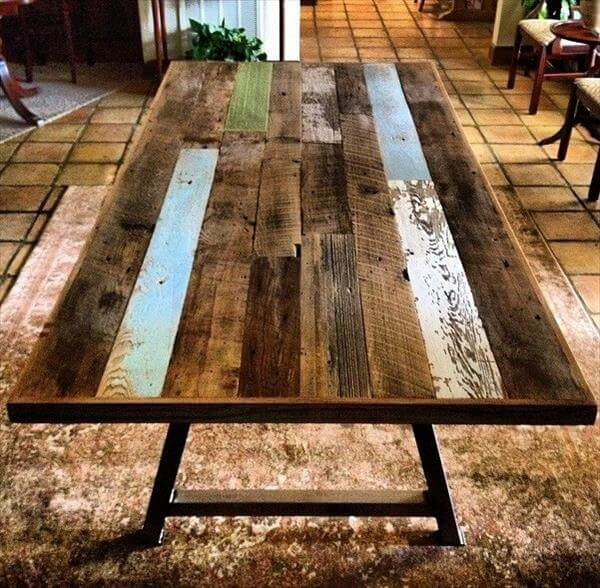 ... table with steel legs diy colorful top pallet dining table diy wood