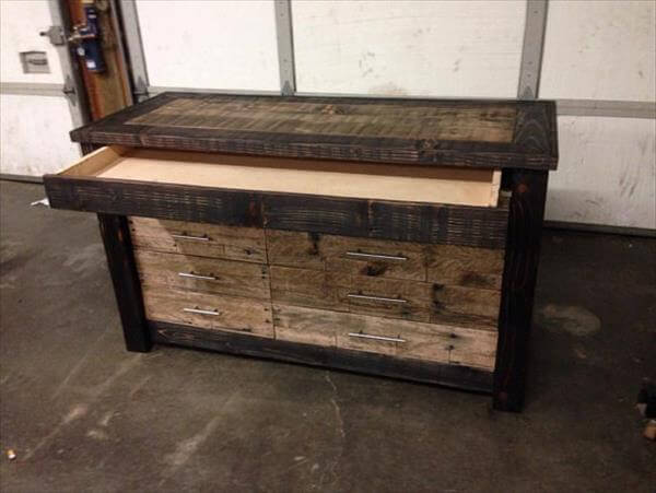upcycled pallet chest of drawers