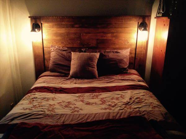 diy pallet headboard with lights 101 pallets