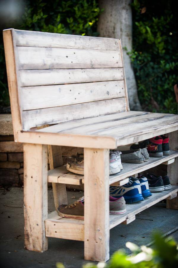 upcycled pallet shoes rack bench