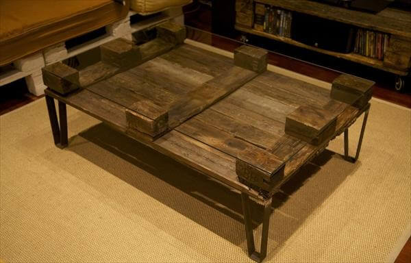 Diy Glass Top Pallet Coffee Table Pallets