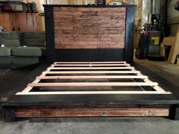 posts whole euro pallet bed with storage drawers diy pallet bed frame ...