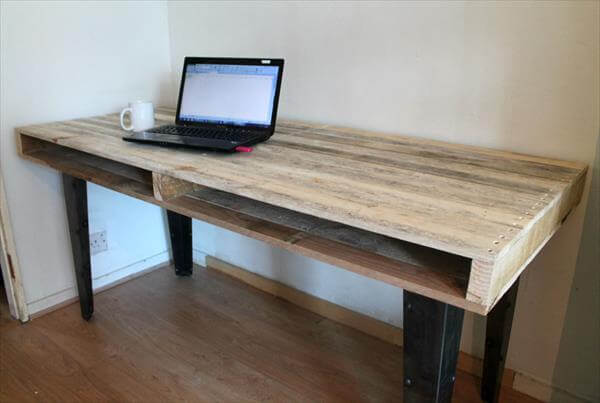 recycled pallet wooden slim dining table and computer desk