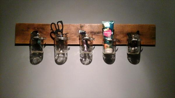 reclaimed pallet and mason jars accessory organizer
