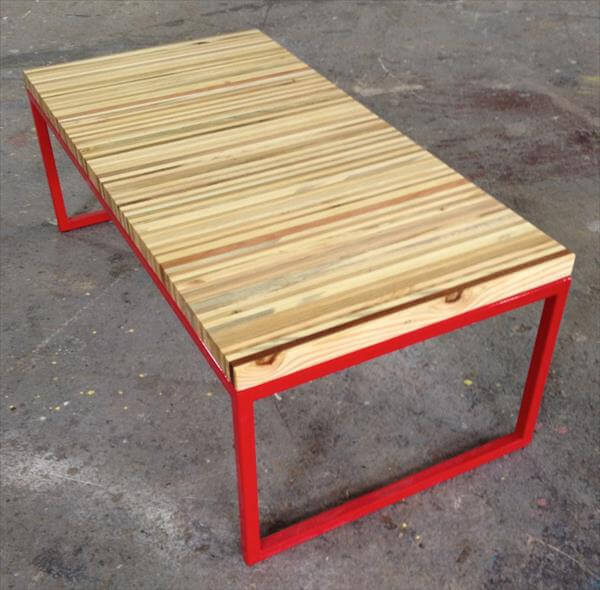 repurposed pallet and steel bench