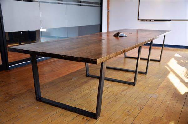 upcycled pallet conference table with flat metal legs