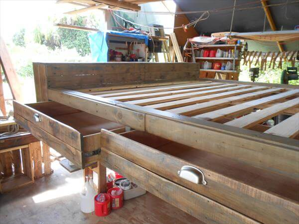 diy pallet bed with storage drawers 101 pallets