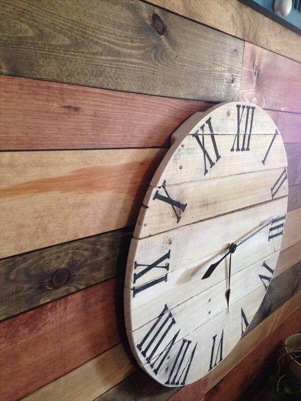 Diy Rustic Pallet Wall Clock 101 Pallets