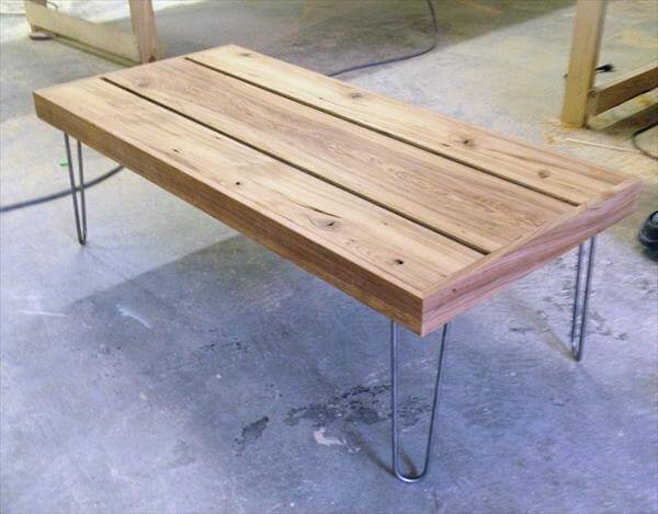 Wooden Coffee Table With Hairpin Legs 101 Pallets