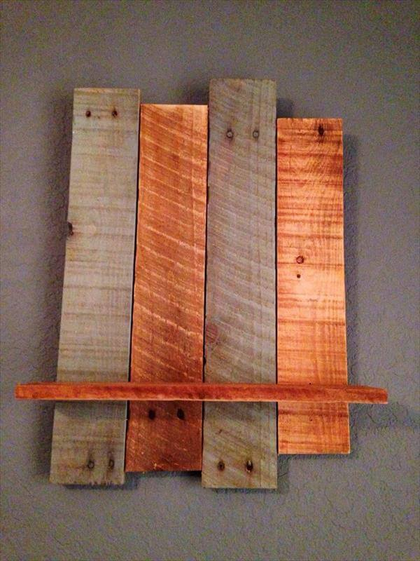 handcrafted pallet wall shelf