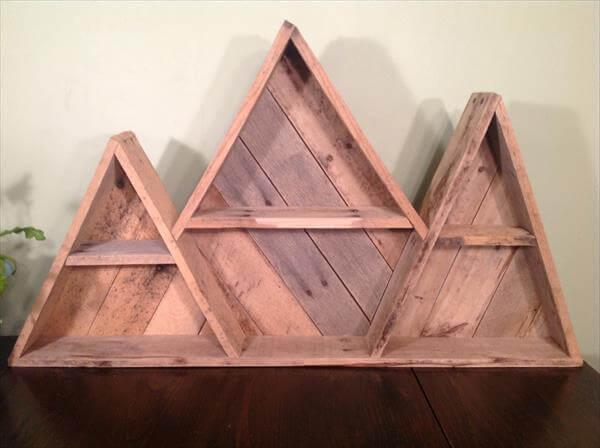 upcycled pallet geometric mountain shelf