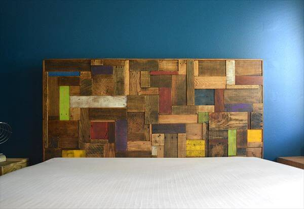 Diy Colorful Accent Pallet Headboard 101 Pallets