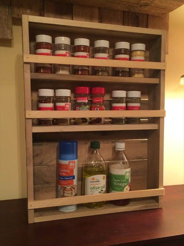 recycled pallet 3 tray spice rack