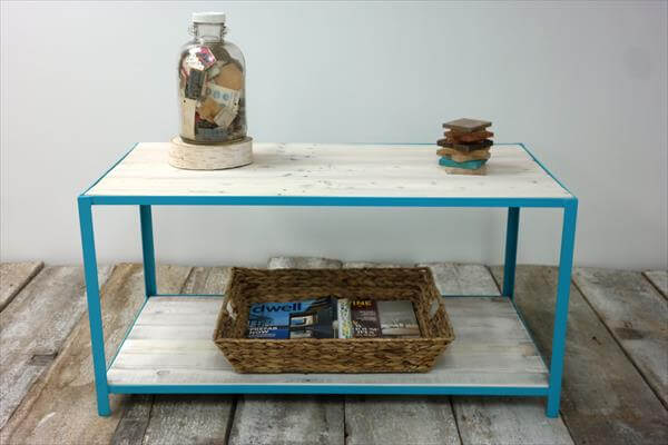 reclaimed pallet coffee table with coastal blue steel frame