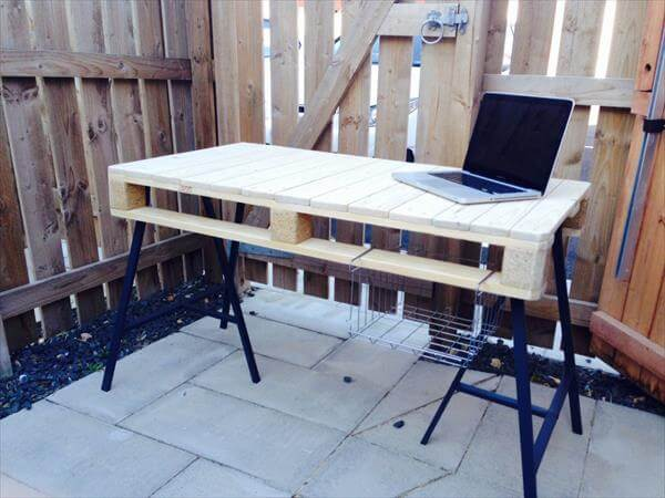 wooden pallet office desk with 3 post metal legs