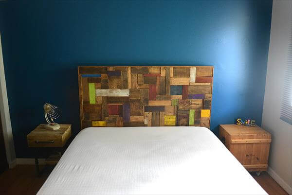 diy colorful pallet patterned headboard