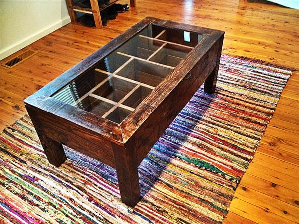 Wood Pallet Coffee Table With Glass Top Pallets
