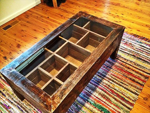 reclaimed pallet coffee table with glass top and segregated interior storage