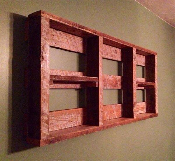 handcrafted pallet wall hanging shelf