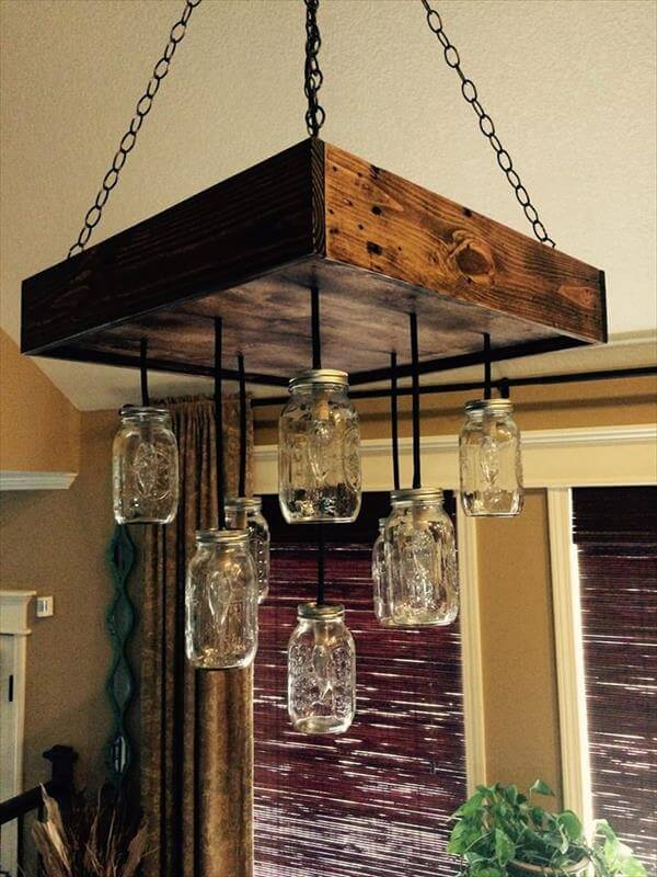 Diy Pallet Mason Jars Chandelier 101 Pallets