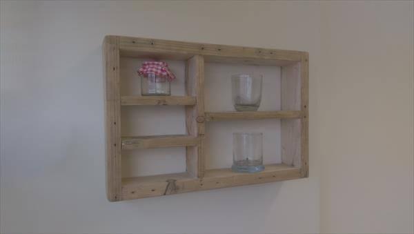 reclaimed pallet wood wall shelf unit