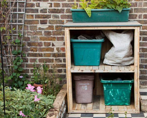 recycled pallet bin storage unit and garden cupboard