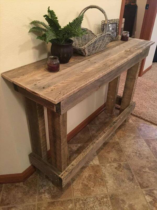 Diy pallet sofa table console table 101 pallets Console coffee table