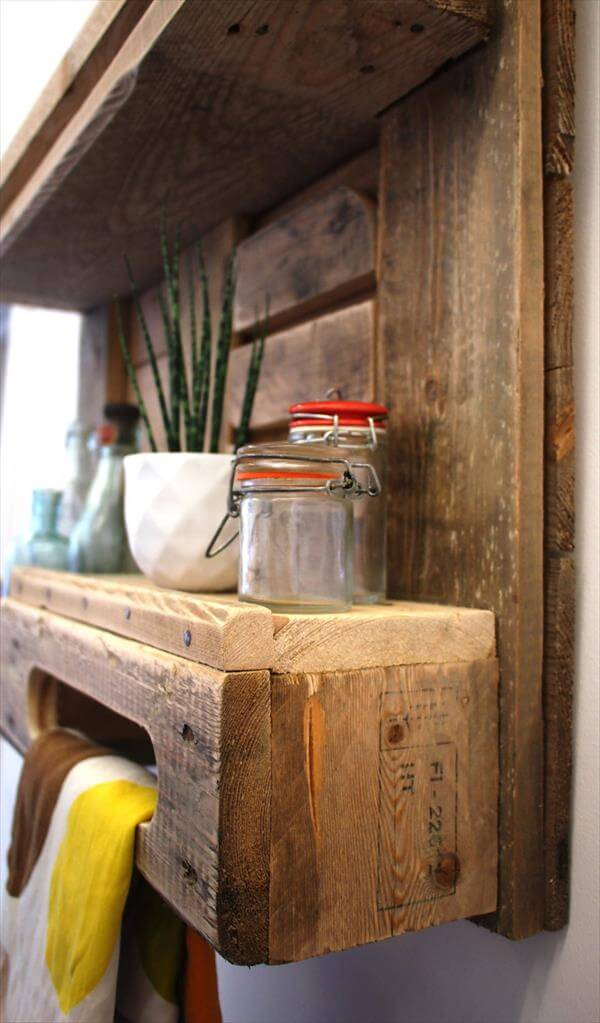 recycled pallet kitchen decorative shelf with towel rack