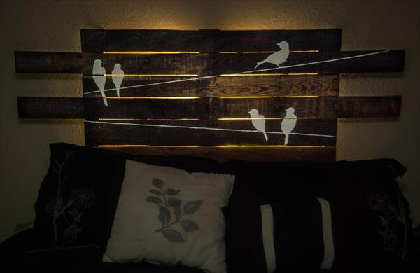 DIY Unique Pallet Headboard with Art : 101 Pallets