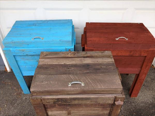 reclaimed colorful pallet outdoor coolers