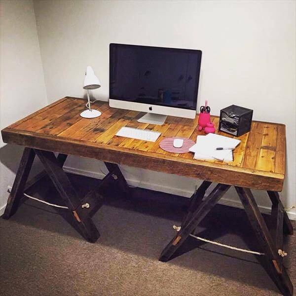 computer desk dining table diy upcycled pallet wall computer desk