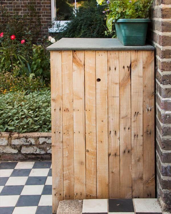 handmade pallet garden cupboard